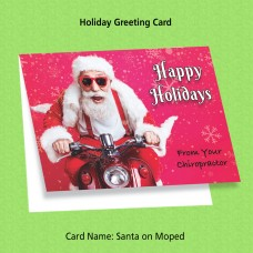 """Greeting Card - """"Santa on Moped"""""""