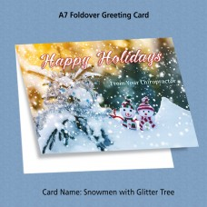 "Greeting Card - ""Snowmen Pair with Glitter Tree"""